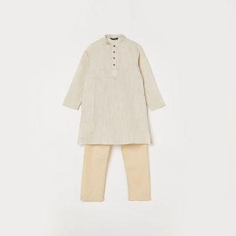 MELANGE Boys Striped Kurta with Elasticated Waist Pyjamas
