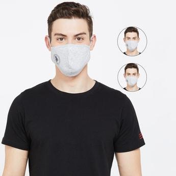 U.S. POLO ASSN. Men Textured 3-Layered Reusable Face Masks - Pack of 3