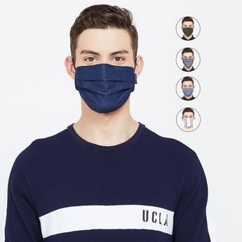 T-BASE Men Assorted Reusable Face Mask - Set of 5