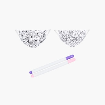 FAME FOREVER KIDS Girls Printed Reusable Masks with Water-Erasable Pens - Pack of 4 Pcs.