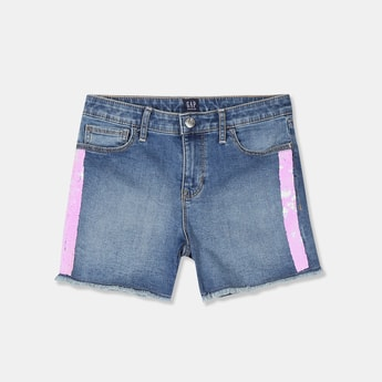 GAP Girls Sequinned Frayed Hem Slim Fit Shorts
