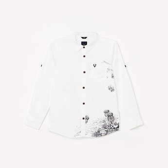 ALLEN SOLLY Boys Printed Full Sleeves Casual Shirt