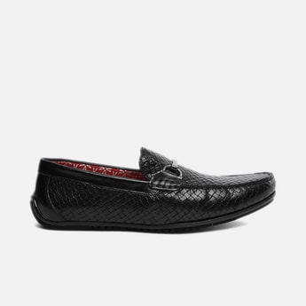 V8 by RUOSH Men Genuine Leather Basket Weave Bit Loafers
