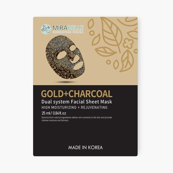 MIRABELLE Korea Dual System Facial Sheet Mask- Gold + Charcoal