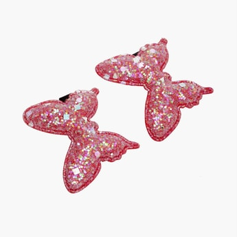 STOLN Girls Sequinned Butterfly Accent Alligator Clips - Set of 2