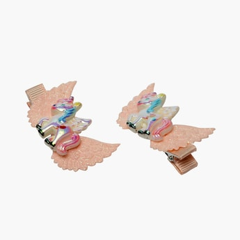 STOLN Girls Sequinned Winged Unicorn Accent Alligator Clip - Set of 2
