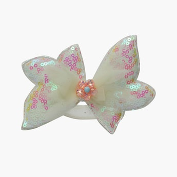 STOLN Girls Sequinned Bow Accent Alligator Clips
