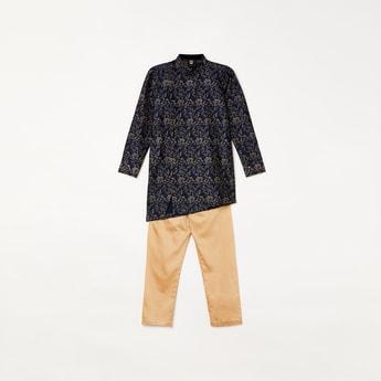 MANYAVAR Boys Printed Kurta with Elasticated Waist Pyjamas