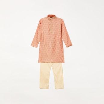 MANYAVAR Boys Jacquard Pattern Kurta with Pyjama