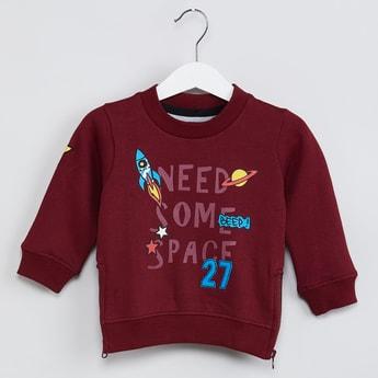 MAX Printed Zipper Detail Sweatshirt