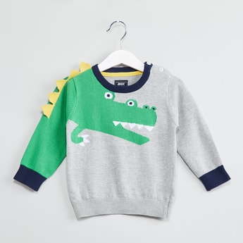 MAX Alligator Jacquard Crew-Neck Sweater