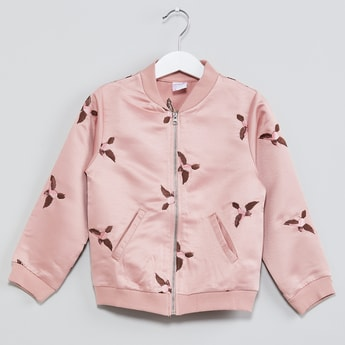 MAX Embroidered Zip-Up Bomber Jacket