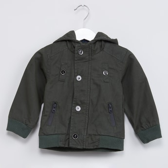 MAX Button Placket Hooded Jacket