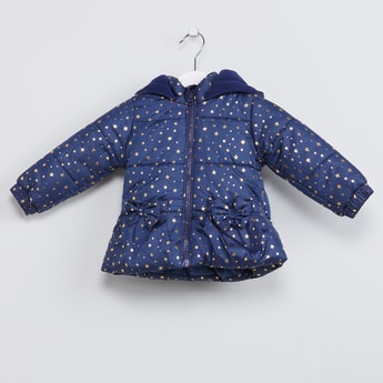 MAX Star Print Hooded Bomber Jacket