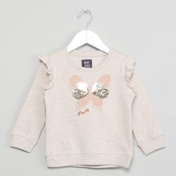 MAX Butterfly Applique Sequinned Sweatshirt