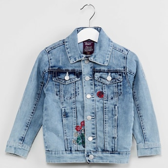 MAX Embroidered Washed Denim Jacket