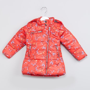 MAX Floral Print Hooded Padded Jacket