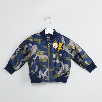 MAX Camouflage Print Padded Bomber Jacket