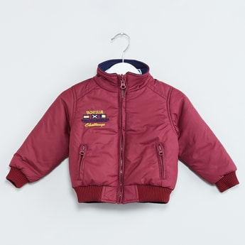 MAX Embroidered Zip-Up Padded Bomber Jacket