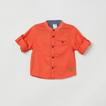 MAX Solid Shirt with Roll-Up Tab Sleeves