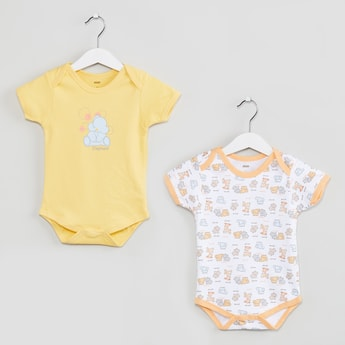 MAX Elephant Printed Buttoned Bodysuit- Set of 2