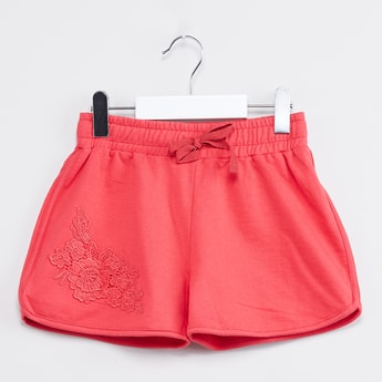 MAX Solid Shorts with Floral Detailing
