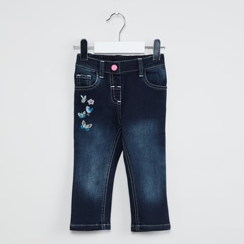 MAX Butterfly Embroidery Lightly Washed Jeans