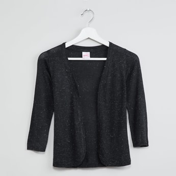 MAX Solid Shrug with Ribbed Hems