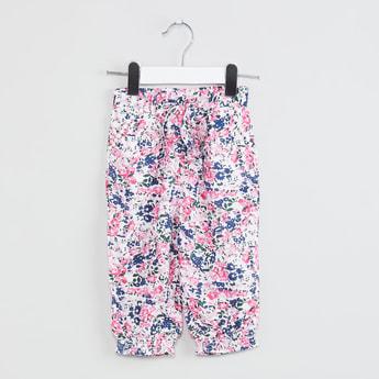 MAX Floral Printed Tie-Waist Harem Pants
