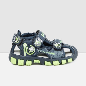 MAX Printed Floater Sandals with Applique
