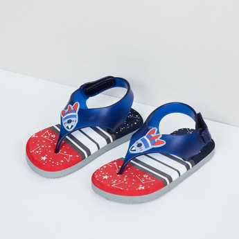 MAX Striped Slippers with Elasticated Backstrap