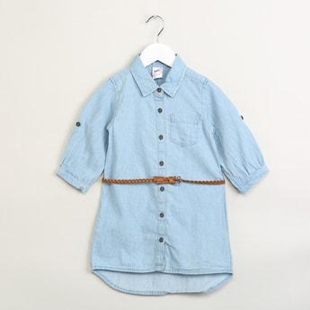 MAX Solid Denim Shirt with Braided Belt