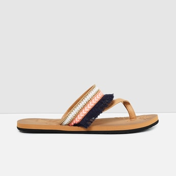 MAX Floral Accent Tasselled Thong Sandals