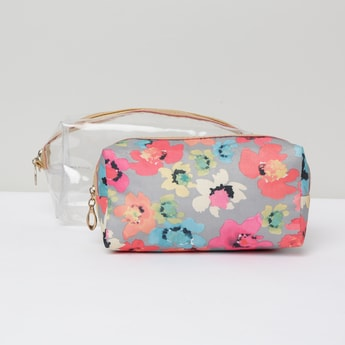 MAX Floral Print Transparent Pouches - Set of 2