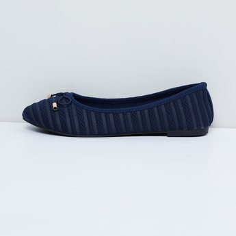MAX Textured Ballerinas with Bow-Detailing