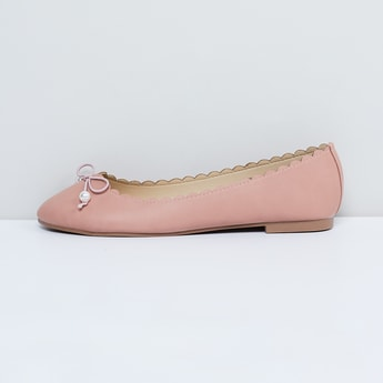MAX Solid Ballerinas with Bow-Detailing