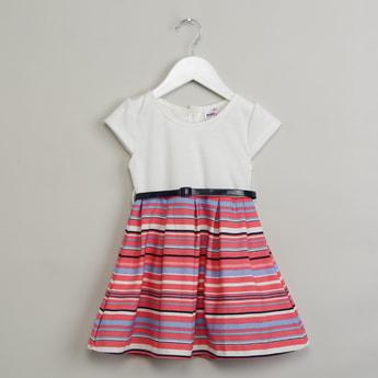 MAX Striped Belt Detail Dress
