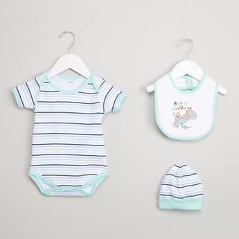MAX Striped Bodysuit, Bibs & Beanie Gift Set