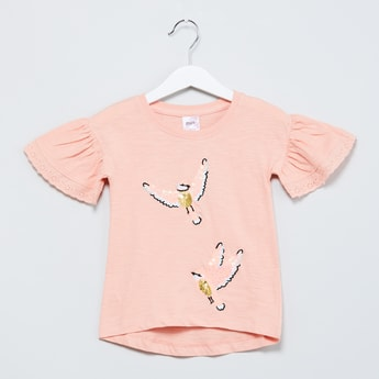 MAX Bell Sleeves Bird Embroidered Top