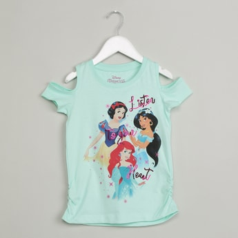MAX Disney Print Cold-Shoulder Top