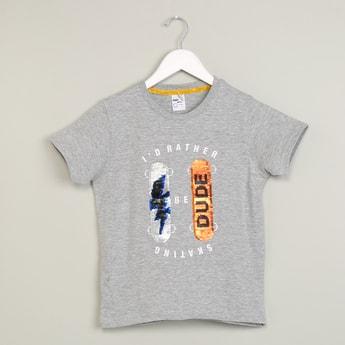 MAX Printed Crew-Neck Heathered T-shirt