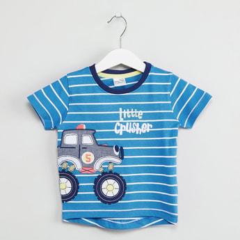 MAX Graphic Print Striped T-shirt