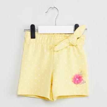 MAX Polka-Dot Print Shorts with Rosette