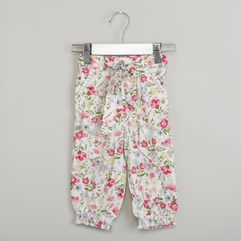 MAX Floral Print Tie-Up Joggers
