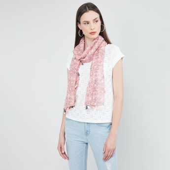 MAX Floral Print Scarf with Tassels