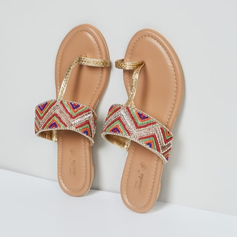 MAX Embellished Toe-Ring Flat Sandals