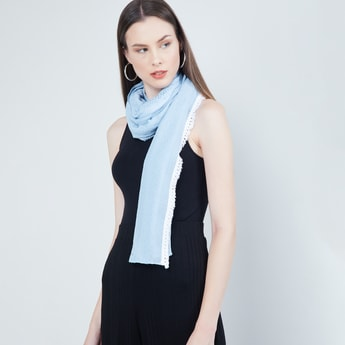 MAX Embroidered Scarf with Tassels