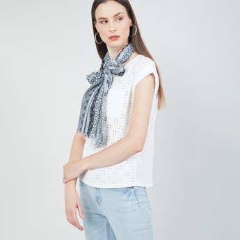 MAX Printed Scarf with Fringed Border