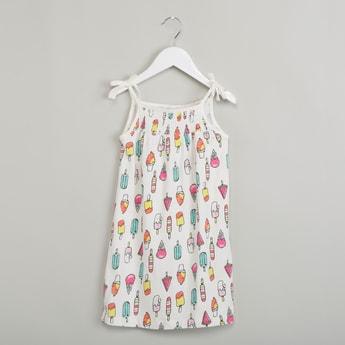 MAX Printed Shoulder Straps A-line Dress