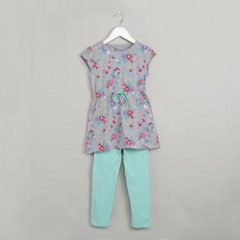MAX Floral Print Top & Leggings Sleepwear Set